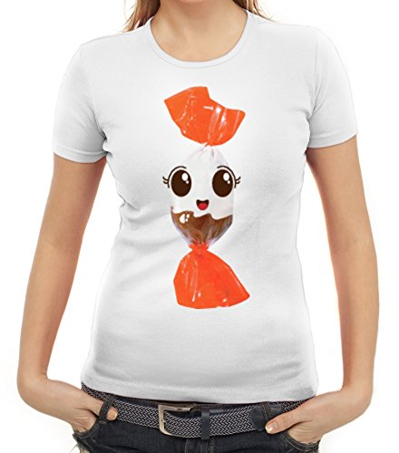 Fasching Verkleidung Frauen T-Shirt Gruppen & Paar Kostüm Schoko BonBon Kostüm, Größe: M,Weiß (Ideen Paar-kostüm Halloween)
