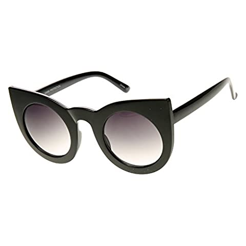 zeroUV - Womens Oversized Bold Rim Round Cateye Sunglasses (Shiny-Black Lavender)