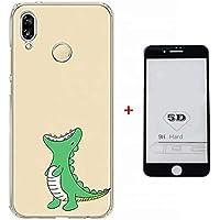 Funda Huawei P20 Case + 5D Protector de Pantalla de Vidrio Templado Lanpangzi TPU Silicona Ultra Suave Transparente Anti-rasguños Cover - Dinosaurio