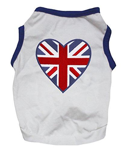 petitebelle Pet Supply Großbritannien Herz blau weiß Baumwolle T-Shirt Neuheit Hund Kleid