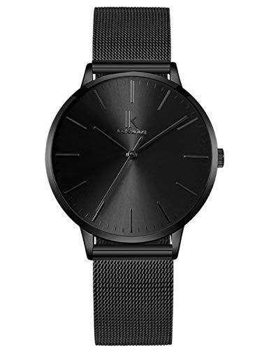 Alienwork Damen-Armbanduhr Quarz schwarz mit Milanaise Mesh-Armband Edelstahl Ultra-flach dünn