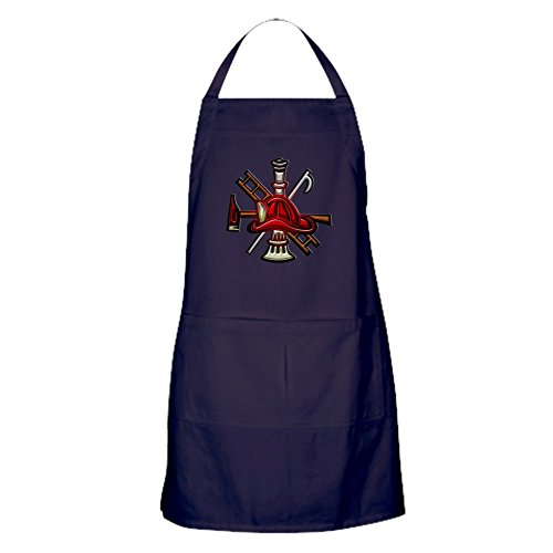 CafePress – Schürze (dunkel) Feuerwehrmann Grafik-Symbole Werkzeuge – 100% Baumwolle Küchenschürze mit Taschen, perfekte Grillschürze oder Backschürze