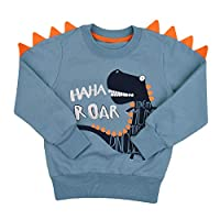 Tkria Little Kids Boys Dinosaur Sweatshirt T-Shirt Long Sleeve Tops Casual Cotton Tee Shirts Age 2-8 Years