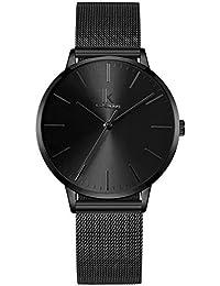 Alienwork Damen-Armbanduhr Quarz schwarz mit Metall Mesh Armband Edelstahl Ultra-flach dünn