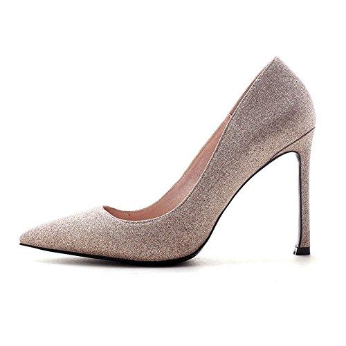 YIXINY Escarpin DA105 Chaussures Femme Sequin Tissu + PU Talon Mince Pointu La Bouche Peu Profonde Robe De Mariée 10 CM Talons Hauts Champagne Couleur