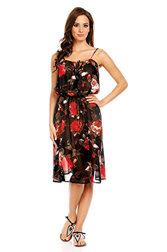 1d49afae3bf4b Mia Suri Women's Summer Strappy Beach Cover Up Loose Dress Black/Red Roses  Size8