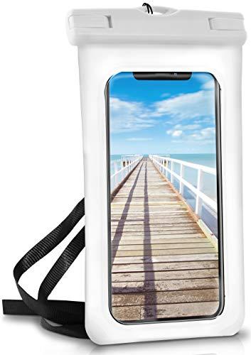 ONEFLOW® wasserdichte Handy-Hülle für alle Apple iPhone   Touch- & Kamera-Fenster + Armband und Schlaufe zum Umhängen, Weiß (Pear-White) (Iphone-kamera Wasserdicht)