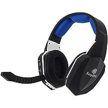 EasySMX 2.4GHz Auriculares Gaming Inalámbricos de diadema para Xbox 360 PS4 PS3 Xbox UNA PC y Mac con Batería Recargable, Removible Micrófono, Desmontable 2 Mic (Un Adaptador de Microsoft es Necesario Cuando se Utiliza para Xbox)-Negro+Azul