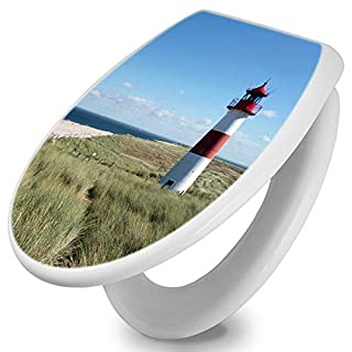 banjado Toilettendeckel mit Absenkautomatik | WC Sitz 42cm x 4cm x 37cm | Klodeckel weiß | Klobrille mit Edelstahl Scharnieren | Toilettensitz mit Motiv Leuchtturm