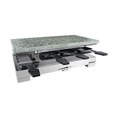 Hochwertiges Premium Raclette Gerät mit heißen Stein Naturstein 1200 Watt Edelstahl