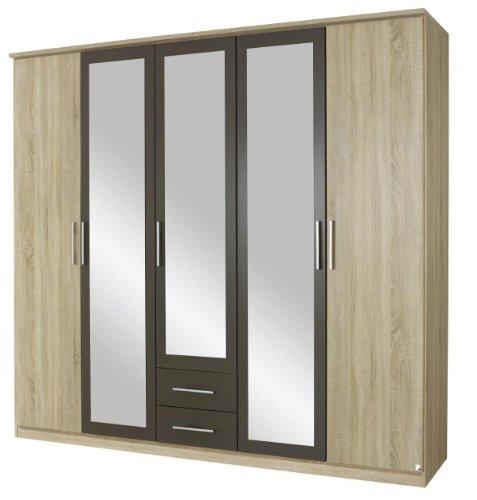 Rauch Kleiderschrank mit Spiegel 5-türig, 2 Schubladen, Eiche Sonoma, Absetzung Lavagrau, BxHxT 226x212x56 cm