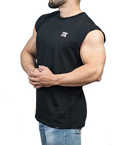 D.K Fit Muscle Shirt/Tank Top Unterhemd Ärmellos - Muscle Fit - Fitness Herren - Schwarz, Weiß (M, Schwarz)