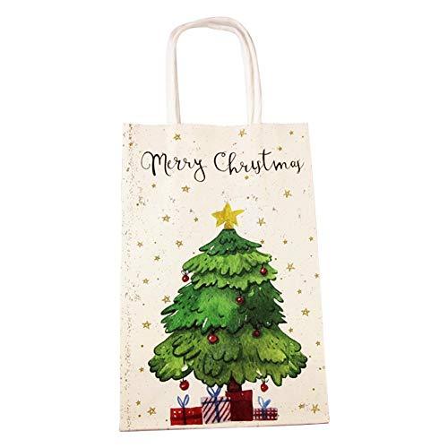 onecomma Papiertüte Weihnachten Kraftpapier Cartoon Candy Taschen Papiergeschenk Taschen Party Favors Weihnachtsbaum Stern Muster Geschenk Papiertüte Candy Bag für Xmas Party