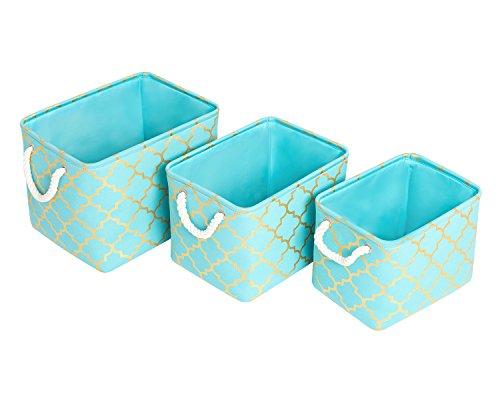 Mayspring Cube Lagerkästen, 3 verschiedene Größe in 1 Set, Stoff Aufbewahrungskorb für die Organisation Baby Spielzeug, Kinder Spielzeug, Baby-Kleidung, Bücher, Geschenk Körbe blau