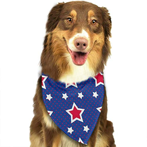 Rghkjlp Red White Star Blue Background Pet Bandana Washable Reversible Triangle Bibs Scarf - Kerchief for Small/Medium/Large Dogs & - Reversible Samt Kostüm