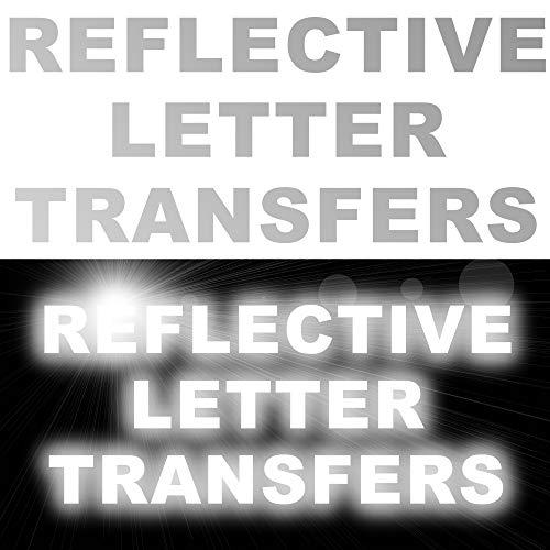 8a855357ee8 Letra reflectante personalizada número transferencia hierro sobre texto  camisetas ropa deporte 8x letters at 50mm height