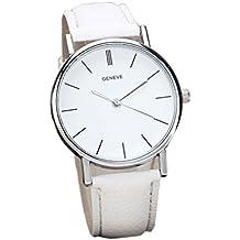 Tyler–Hancock Unisex Retro Design banda de cuero cuarzo aleación analógico reloj de pulsera color blanco