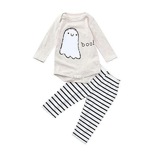 Trunlay Neugeborenes Baby Mädchen 2 Stück Kleidung Halloween Brief Strampler Tops + Streifen Hose Outfits Set Baby Kleidung Set Bekleidungsset für 6-24 Monate