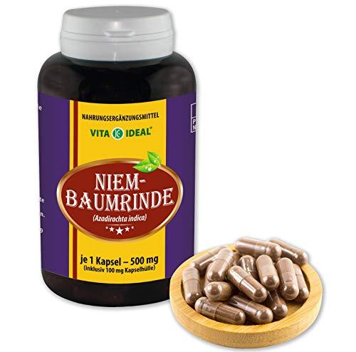 Rinde Kapseln (VITA IDEAL ® Niem-Baum-Rinde (Neem Kapseln, zadirachta indica) 180 Kapseln je 500mg, aus rein natürlichen Kräutern, ohne Zusatzstoffe)