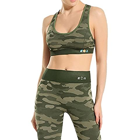Vertvie Femme 2 Pièces Ensemble de Sportswear Soutien-gorge de Sport Camouflage Push Up sans Armature Leggings Collant Stretch Respirant pour Yoga Fitness Jogging (S/M, Vert Armé