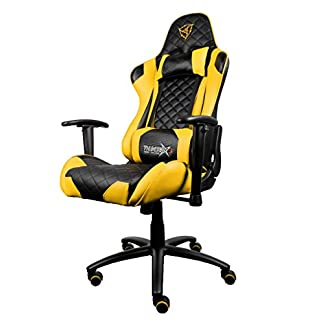 41MM4h11eaL. SS324  - ThunderX3 TGC12BY- Silla gaming profesional- (Estilo Racing, Cuero sintético, Inclinación y altura regulable, Apoyabrazos, Reposacabezas, Cojín lumbar) Color Negro y Amarillo