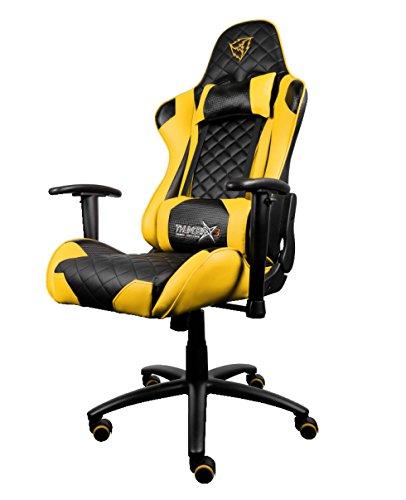 ThunderX3 TGV12BY- Silla gaming profesional- (Estilo Racing, Cuero sintético, Inclinación y altura regulable, Apoyabrazos, Reposacabezas, Cojín lumbar) Color Negro y Amarillo