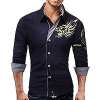 Yvelands Camisas de la Personalidad de los Hombres, Camiseta de Manga Larga de los Hombres Personalidad Hermosa, Moda Atractiva Negocio Ocasional Blusa Superior Liquidación