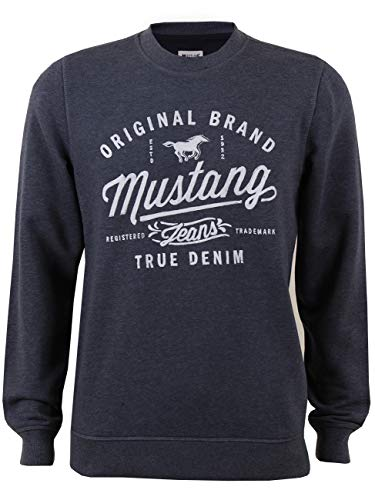 Mustang Herren Sweater Logo Sweat, Größe:XL, Farbe: MUSTANG - Blue Nights Melange (5370) -