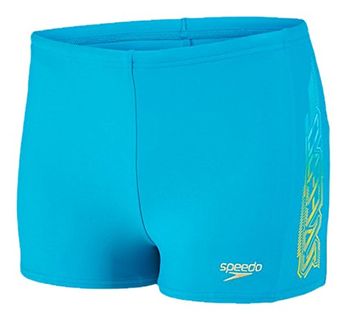 Speedo Jungen Speedpunch Logo Panel Aquashorts Badehosen, Aquarium/Lime Punch, 140 (Herren-bademode Unternehmen)