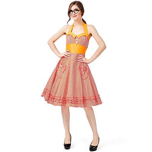 BEESCLOVER Bieranzug Kinder Mädchen Bayerische Trachtenmode Oktoberfest Kellnerin Cosplay Kostüm Rotes Plaid S- - Kellnerin Kostüm Kind