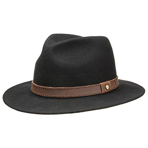 Stetson Chapeau en Feutre Jackson Homme - pour d'extérieur de Laine avec Bandeau Cuir Printemps-ete - L (58-59 cm) Noir