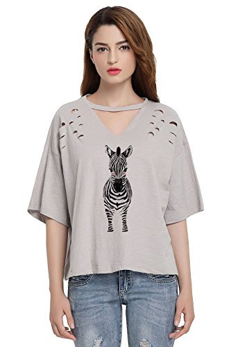 So'each Women's Donkey Graphic Animal V-Neck Broken Hole Tee T-Shirt Tops (Donkey T-shirt Light)
