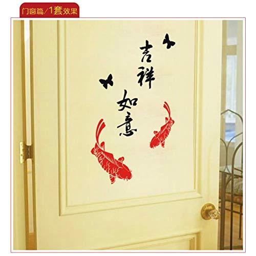 QTRYFHJI Neues JahrSicher Fisch Mit Traditionellem Lunar New Year Festival Chinesischer Kalligraphie Wand Papier Kleben Wandaufkleber