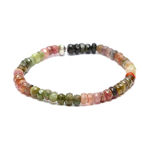 Aqeeqee natural gemstone Tourmaline watermelon shades sleek unisex bracelet