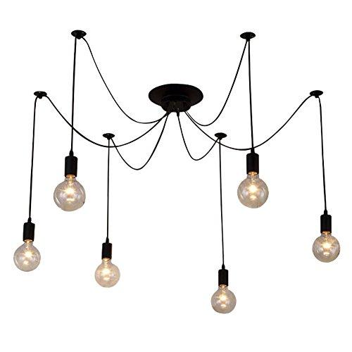 6 Arme (jeweils mit 1,5 m Draht) Antike klassische Ajustable DIY Decke Spider Lampe Licht E27 Sockel Sockel Retro Kronleuchter Pedant Speisesaal Schlafzimmer Hotel Dekor Dekoration -