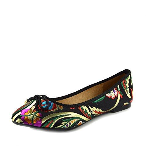 Bristol-pumpe (Damen Pumps Ballet Floral Print Flats Schuhe - UK 3 / EU 36, Schwarz)