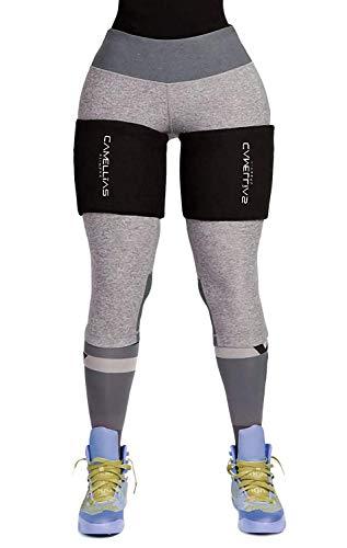 DeepTwist Oberschenkelbandage, verstellbare Kompressionsbandage Anti-Rutsch-Klettverschluss für Oberschenkel Verletzung,Laufen und Sport Gewichtsverlust,UK-DT8016-Black-One Size