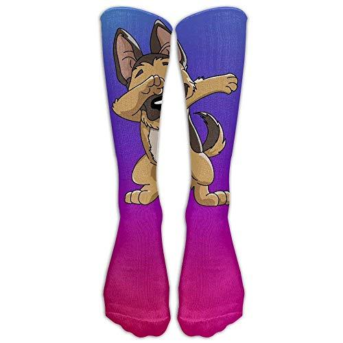 ncnhdnh German Shepherd Dabbing Puppy Funny Dab Dance Stockings Long Tube Socks, Classics Knee High Socks Sports Socks for Women Men