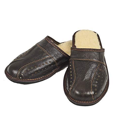 DF-SOFT Herren Herrenpantoffel Pantoffel gefüttert Hausschuhe Haus Schuhe Leder Pantoffel Lederpantoffel Pantoletten Schlappen Modell 111 (45 EU)