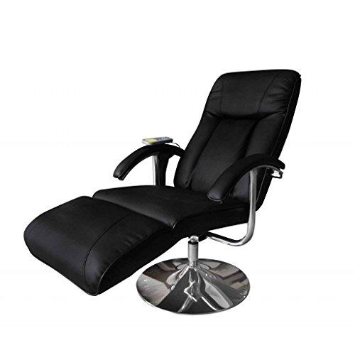 Anself poltrona reclinabile elettrica relax massaggiante in pelle, nero/crema