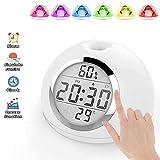 Wake Up Light Wecker LED Nachttischlampen Uhr für Gesten & Berührungsschalter mit 7 Farbigem Nachtlicht, Helligkeitsverstellbarer Wecker, Schlummerfunktion für Schwere Schlafmöglichkeiten