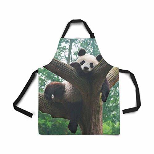InterestPrint Latzschürze für Damen, Herren, Mädchen, Koch mit Taschen, Motiv Pandabär, lustige Haltung im Baum, verstellbar, für Kochen, Backen, Gartenarbeit, Haustierpflege, Reinigung -