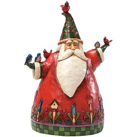 Heartwood Creek 4027702 Babbo Natale con Uccellini Resina, Design di Jim Shore, 21 cm