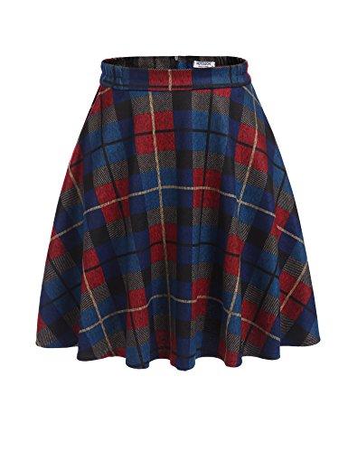 Unibelle Damen Karierte Röcke Faltenröcke Röcke Skirt Minirock Knielang Wollrock Skater Rock Rot-Blau S