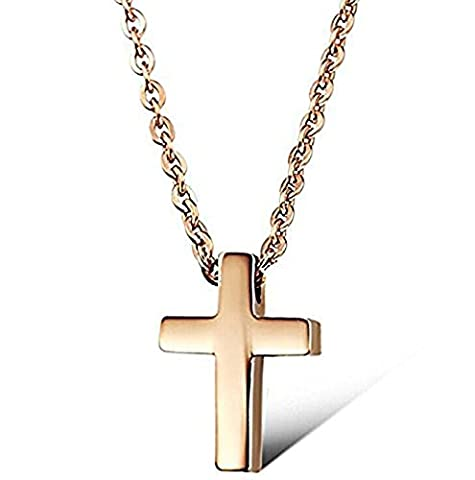 Rose Gold Plated Small Titanium Stainless Steel Simple Glossy Cross Women's Cute Necklace
