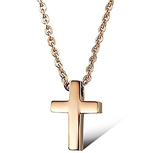 rose-gold-plated-small-titanium-stainless-steel-simple-glossy-cross-womens-cute-necklace