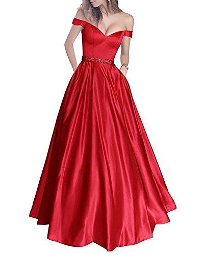 Charmant Damen Weinrot Langes Satin V-ausschnitt Abendkleider Ballkleider Abschlussballkleider A-linie Rock Rot