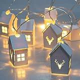 ITART Natale Luci a corda Casa in legno bianco Decorazione ghirlanda illuminata LED Stringa Luce A batteria per Albero di Natale Corona Nozze Camera da letto arredamento (casa)