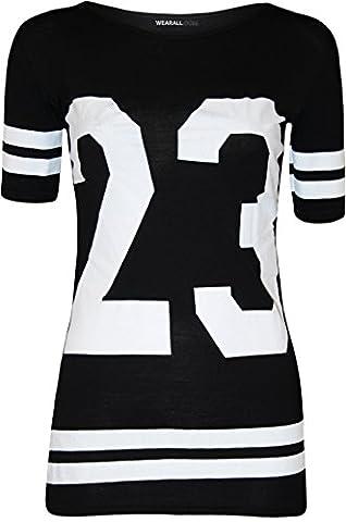 WearAll - 23 rayures base-ball varsity imprimé t-shirt top a