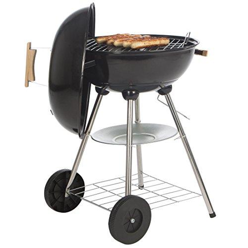 Bruzzzler Barbacoa redonda, barbacoa esférica con asas de madera, barbacoa de carbón, carro de barbacoa redondo, 43 cm